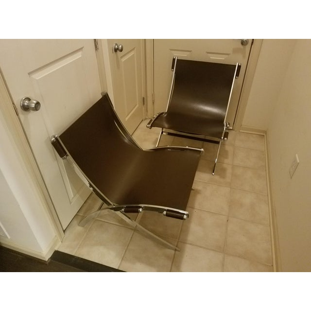 Mid-Century Modern Style Leather Sling & Chrome Chairs - a Pair For Sale - Image 10 of 10