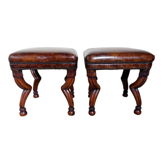 Leather Embossed Gazelle Benches, Pair For Sale