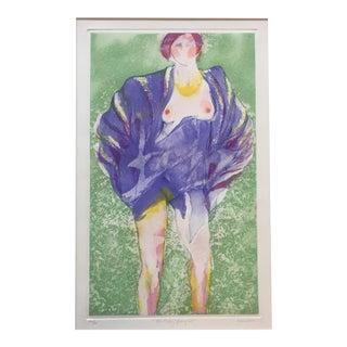 Original Vintage Female Nude Lithograph For Sale