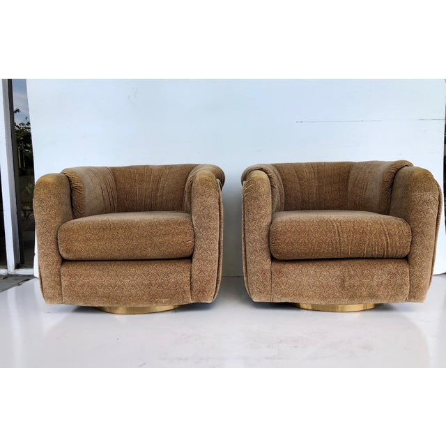 Vintage 1970s Milo Baughman Swivel Chairs - a Pair For Sale - Image 9 of 9