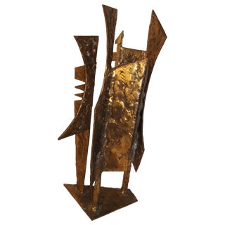"""""""Sculpture 95"""" Abstract Modern Art Bronzed Welded Iron by J. McVicker For Sale"""
