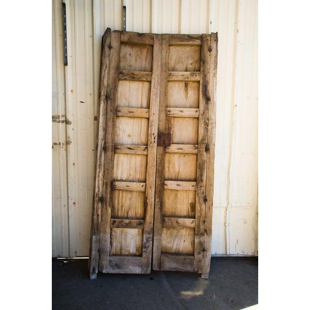 Antique Guadalajaran Exterior Swinging Mesquite Rustic Doors - A Pair For Sale - Image 4 of 11