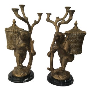 Maitland Smith Solid Brass Bear Figurine Candelabras - A Pair For Sale