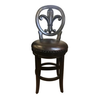 Modern Fleur De Lis French Leather Bar Stool For Sale