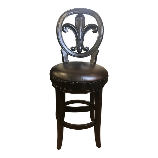 Stupendous Modern Fleur De Lis French Leather Bar Stool Ibusinesslaw Wood Chair Design Ideas Ibusinesslaworg