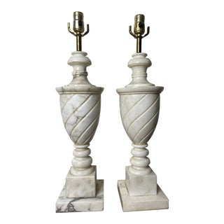 Antique Early 20th Century Neoclassical Marble Lamps - a Pair For Sale
