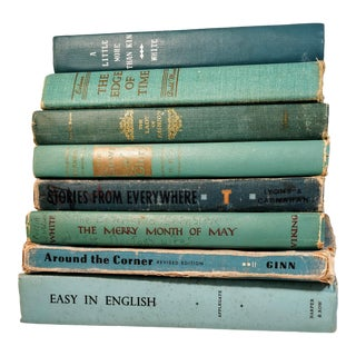 Vintage Turquoise Blue Aqua Books - Set of 8 For Sale