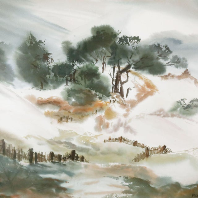Framed Painting of Billowing Landscape For Sale - Image 4 of 5