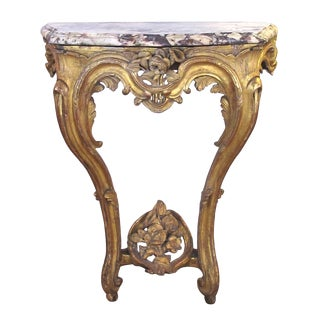 Italian Rococo Carved Giltwood Wall Console With Calcutta Viola Marble Top For Sale