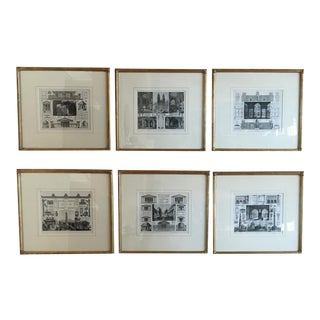 Architectural Engravings Circa 1891, Matted and Glazed in Custom Gilt Wood Frames - Set of 6 For Sale