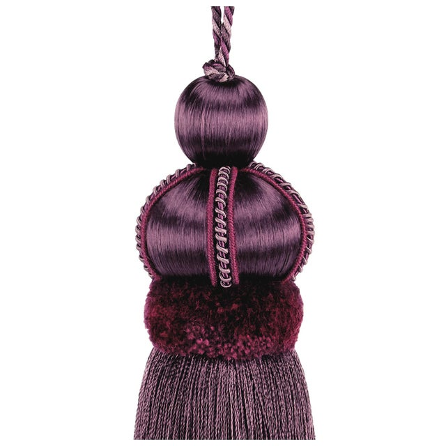 Mulberry satin colored key tassel made with cut velvet ruche above the skirt and decorative gimp detail. Color: Mulberry...