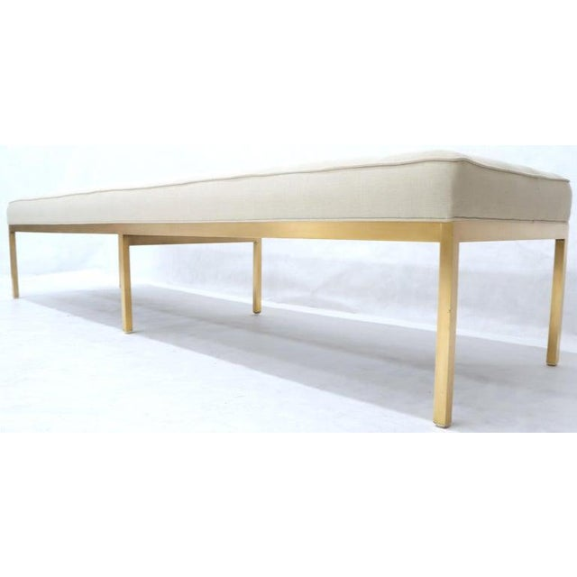 White Extra Long Solid Brass Base Frame Spring Loaded New Upholstery Bench Daybed For Sale - Image 8 of 13
