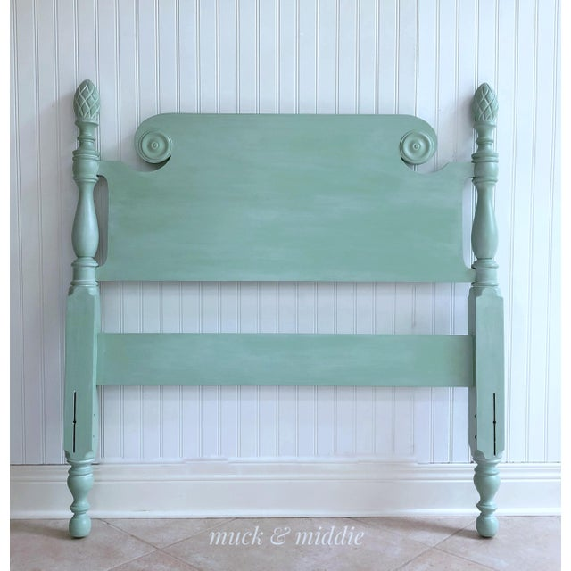 This solid mahogany, vintage twin headboard is in immaculate condition. It has been painted a fabulous shade of green and...