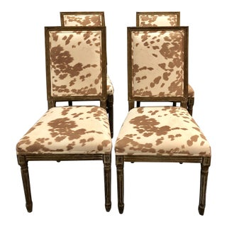 Modern Faux Pony Hair Dining Chairs- Set of 4 For Sale