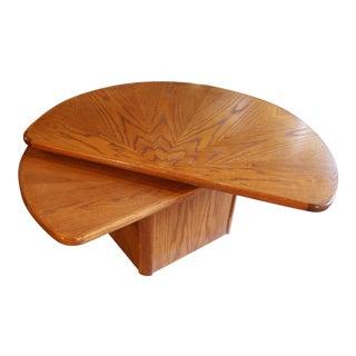 Oak Lazy Susan Semi Circle Coffee Table For Sale