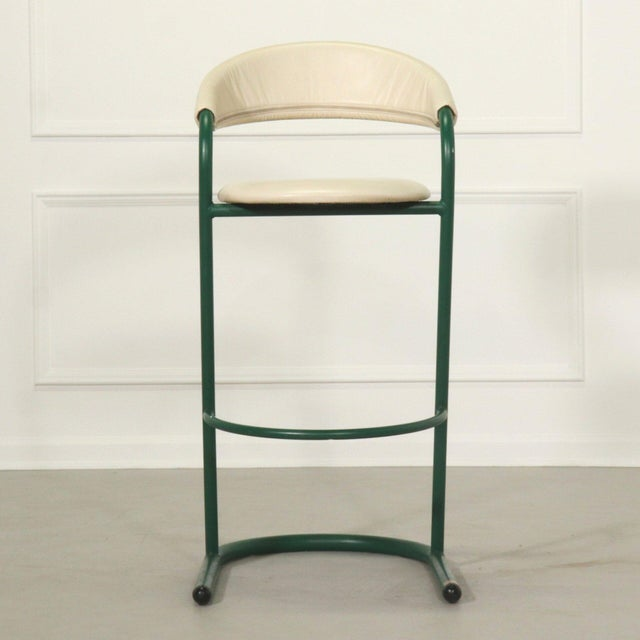 Green Cantilever Tubular Bar Stools - Pair For Sale In Tampa - Image 6 of 8
