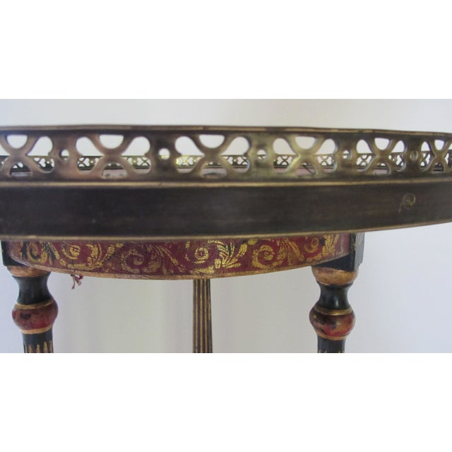 Red & Black Leather Top End Table - Image 6 of 7