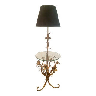 Mid-Century Hollywood Regency Gilt Floor Lamp with Glass Table For Sale