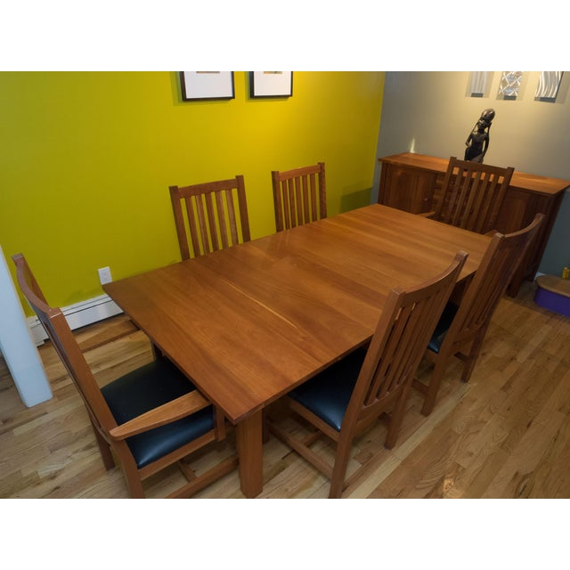 American Mission Style Brazillian Cherry Wood Dining Set From Crate & Barrel For Sale - Image 3 of 9