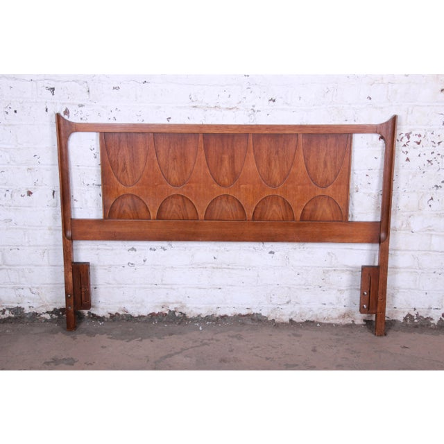 Brown Broyhill Brasilia Mid-Century Modern Sculpted Walnut Queen Size Headboard For Sale - Image 8 of 8