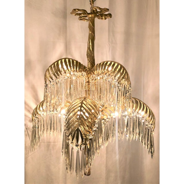 Antique French Belle Epoch Palm Chandelier, Circa 1890.