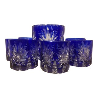 Sapphire Blue Crystal Cut to Clear Whiskey Set For Sale