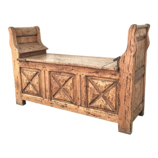 Antique Moorish Oak Storage Bench