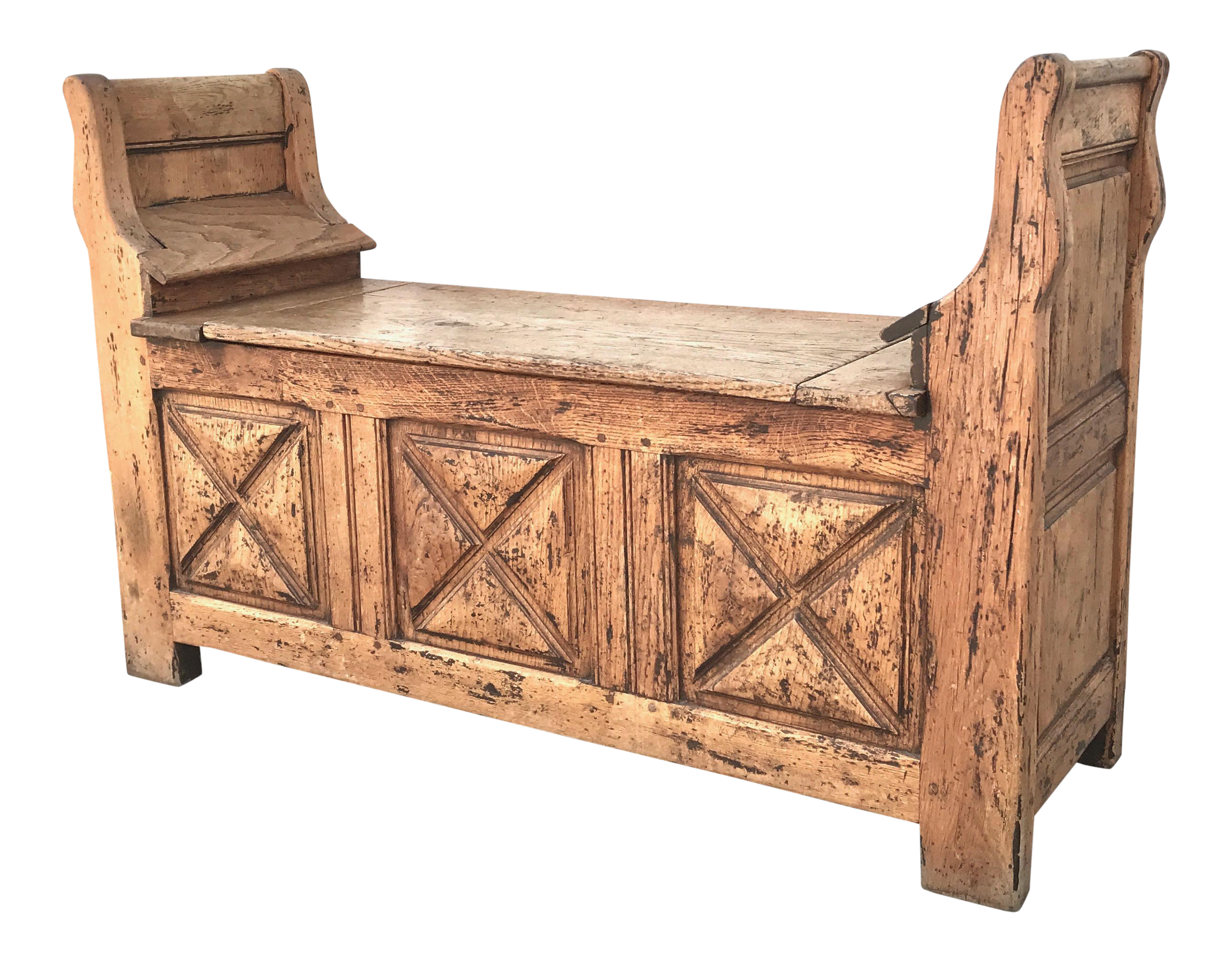 Antique Moorish Oak Storage Bench For Sale