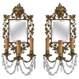 Early 19th Century Antique French Bronze Sconce With Mirrors - a Pair For Sale