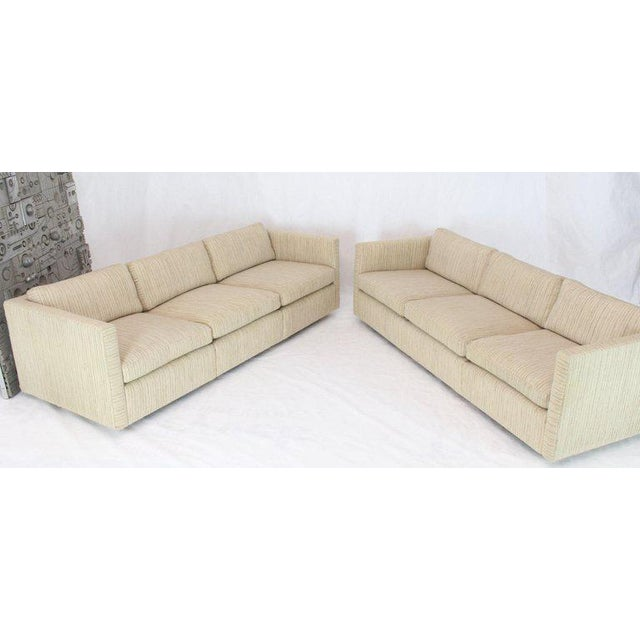 1970s Vintage Cream Wool Upholstery Box Shape Knoll Sofas Baughman Probber- a Pair For Sale - Image 11 of 13