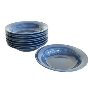 Vintage Nancy Calhoun Blue Sapphire Pottery Bowls - Set of 10 For Sale
