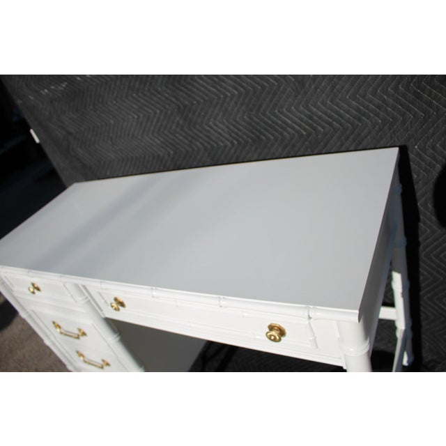 Paint 1970s Thomasville Allegro Faux Bamboo Desk For Sale - Image 7 of 11