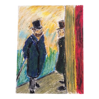 2009 Impressionist Inspired French Male Street Scene Drawing For Sale