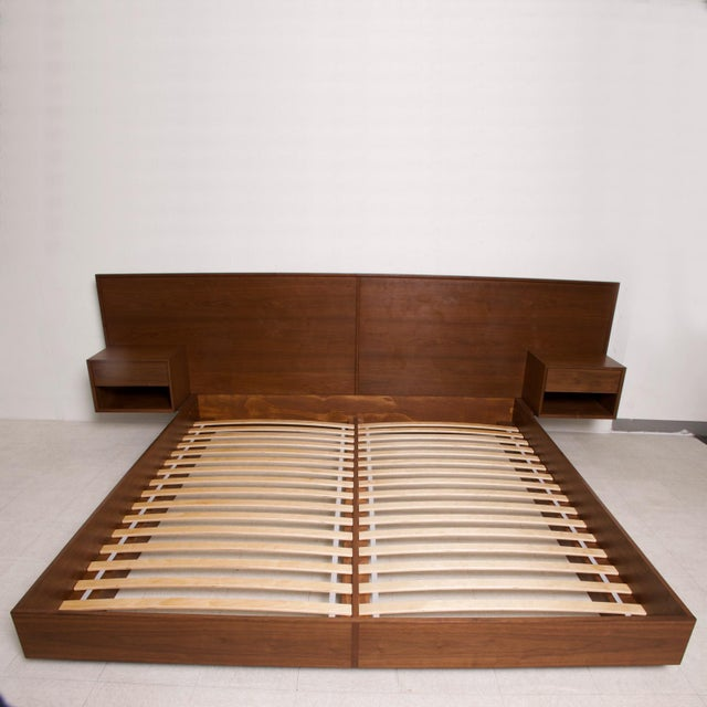 Modern Walnut King Size Platform Bed With Floating Nightstands For Sale - Image 4 of 11