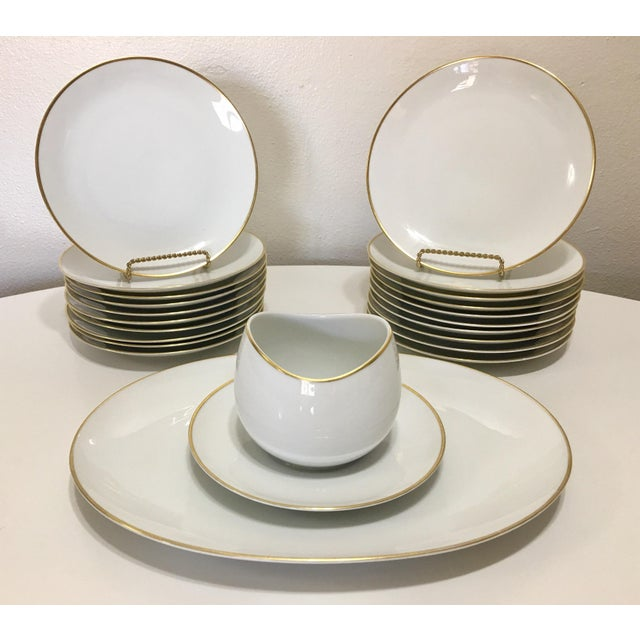 Pure White Porcelain With Gold Trim Serving Ware 28Pcs - Image 3 of 8
