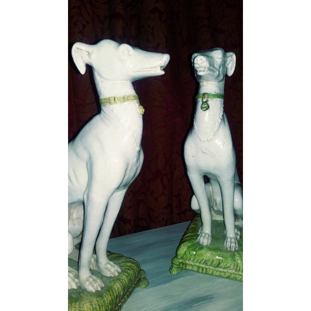Unique Pair of Vintage Italian Tin Glazed Terracotta Whippet Statues..a Left & Right matched pair..One is Free of any...