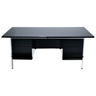 1950s Florence Knoll Lacquer and Chrome Tanker Desk For Sale