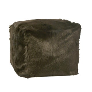 Black Fur Square Pouf For Sale