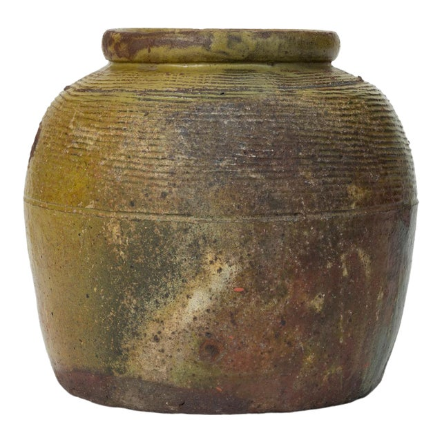 Hand-Thrown Garden Pot With Olive Green Glaze For Sale