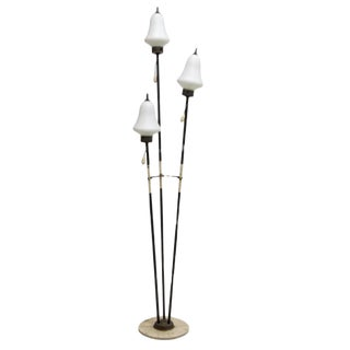 Mid-Century Modern Italian Floor Lamp With Glass Globes