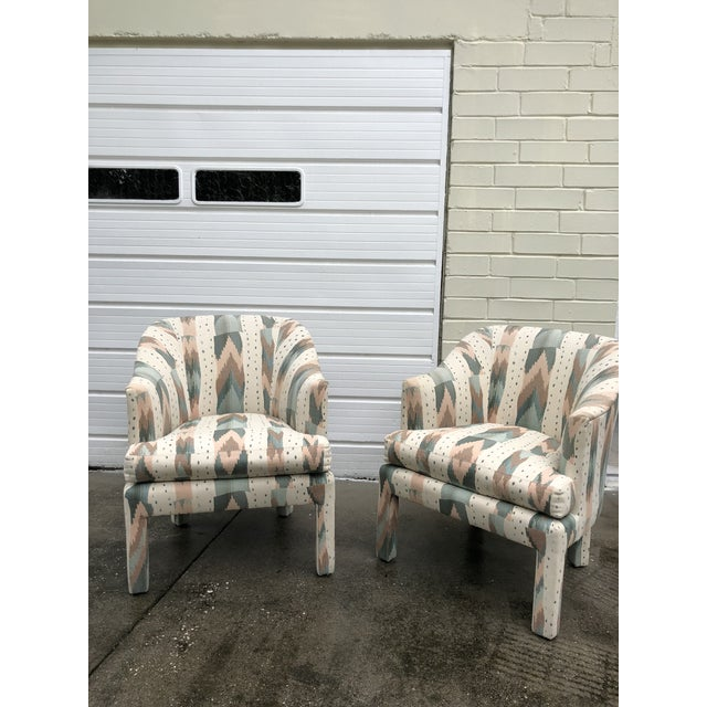 Vintage pair of Clyde Pearson for Lane club chairs, upholstered in a gorgeous Missoni-style, flame stich fabric....