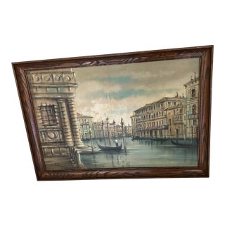Venice Canal Oil Painting by Alvaro For Sale
