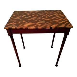 Art Deco Tortoise Shell Faux Painted Small Table For Sale
