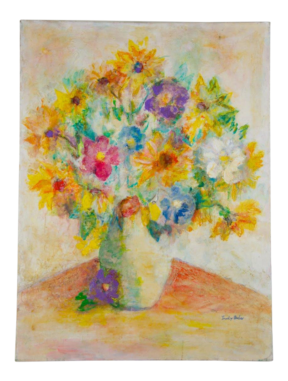 Vintage Mid Century Trudy Bader Wildflower Bouquet Still Life Acrylic On Canvas Painting Chairish
