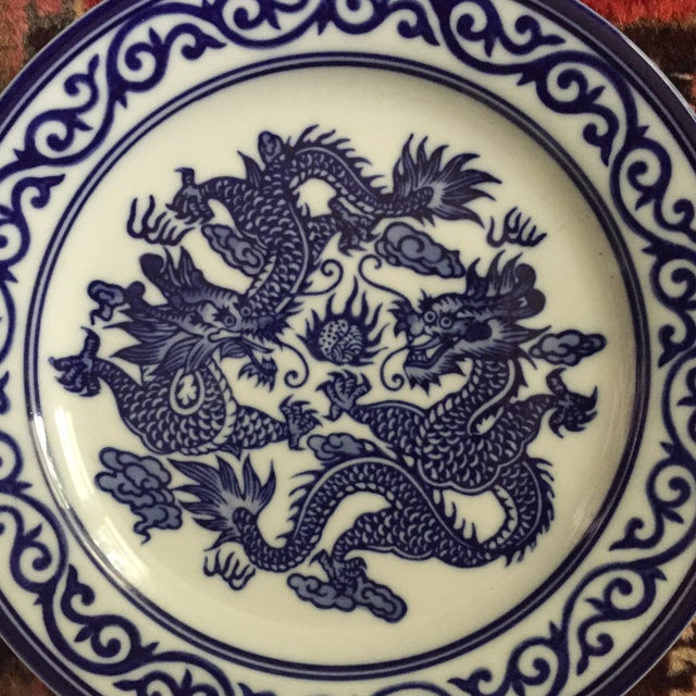 Asian Vintage Chinoiserie Blue and White Asian Foo Dragon Decorative Plates - a Pair For Sale - Image 3 of 10