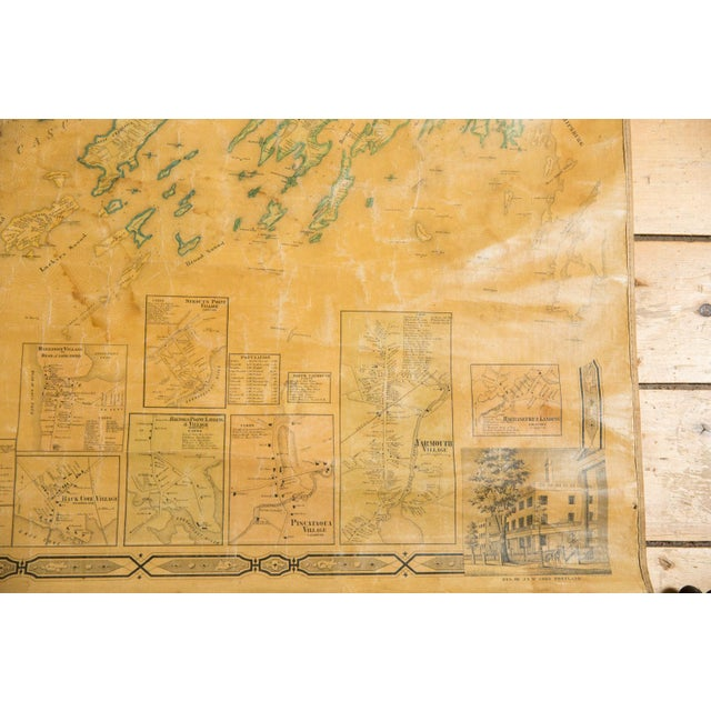 Late 19th Century 1860s Cumberland County Maine Wall Map Featuring Portland For Sale - Image 5 of 11