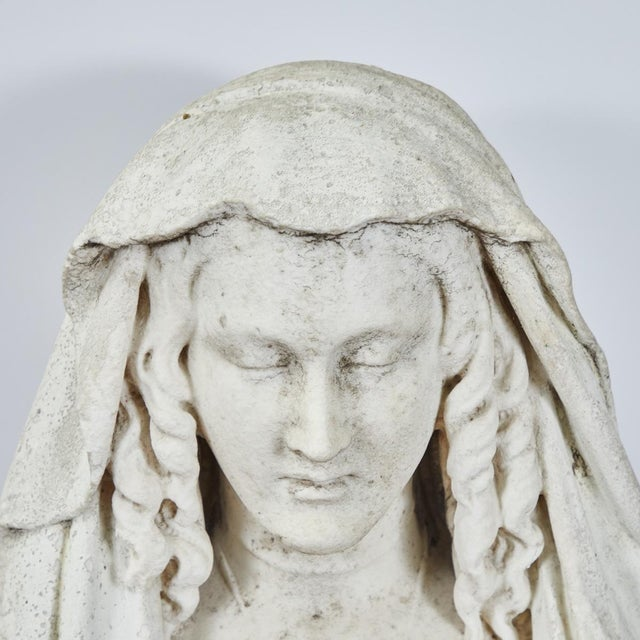 Gray Carved Stone Bust of Woman For Sale - Image 8 of 9