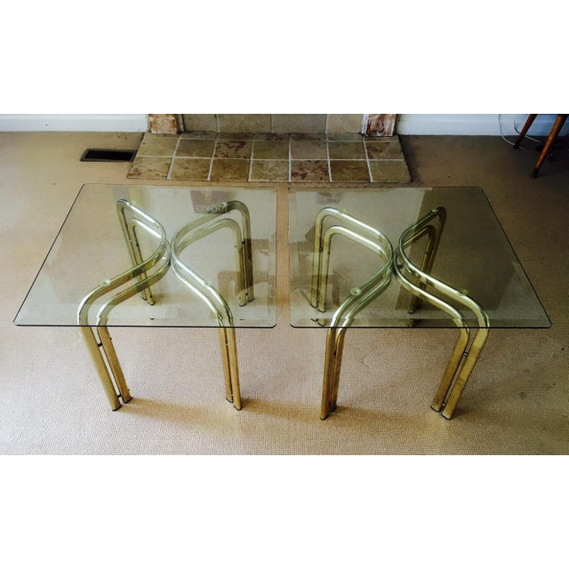 Mid Century Brass & Glass Side Tables - a Pair - Image 2 of 9