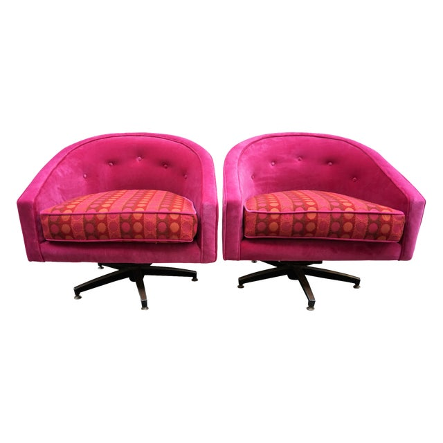 Ward Bennett Style Magenta Swivel Chairs - A Pair - Image 1 of 9