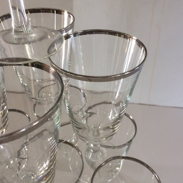 French Platinum Rim Crystal Cocktail /Water Glasses - Set of 12 For Sale - Image 10 of 11